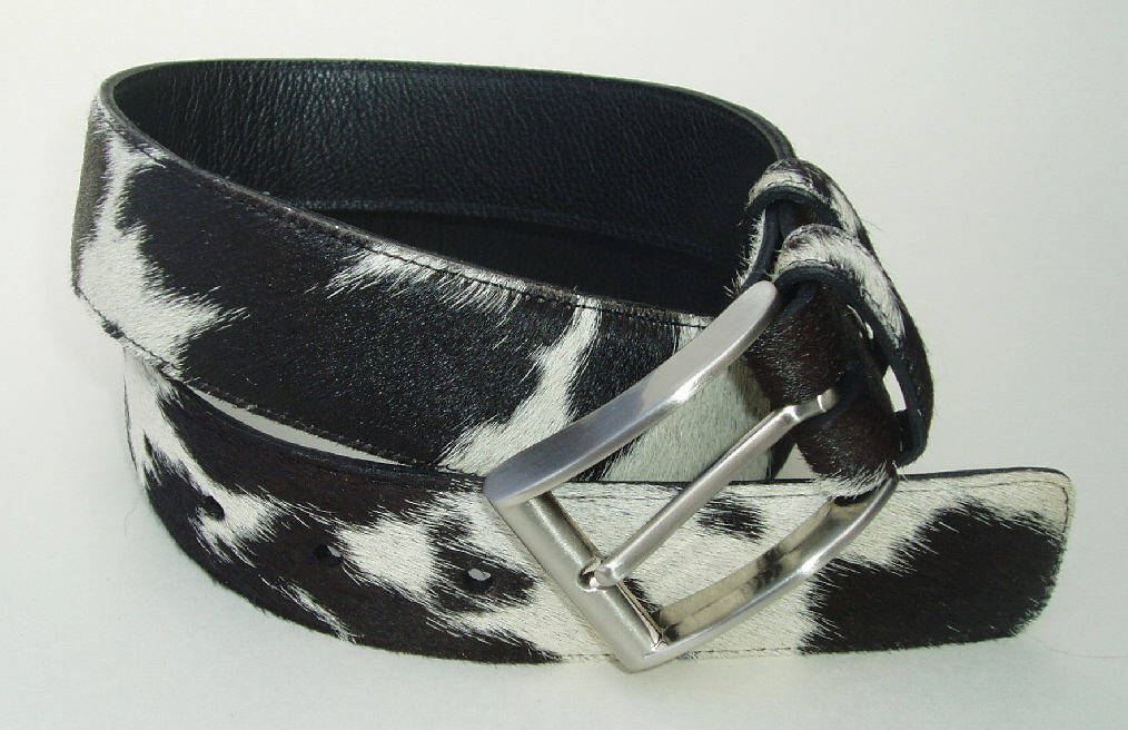 4BLC 353848P Black & White Hair Cowhide Belt